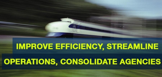 Improve Efficiency, Streamline Operations, Consolidate Agencies